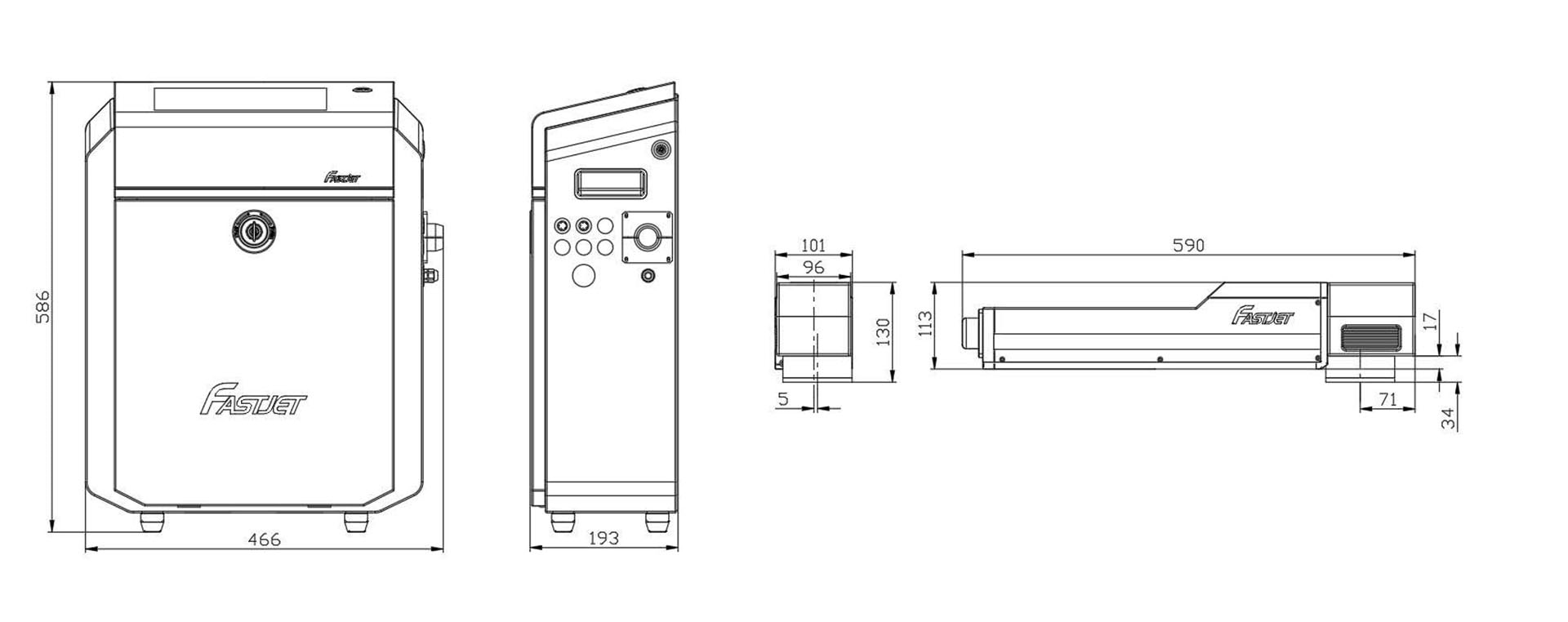 Лазерний маркувальник Fastjet F8200 розміри