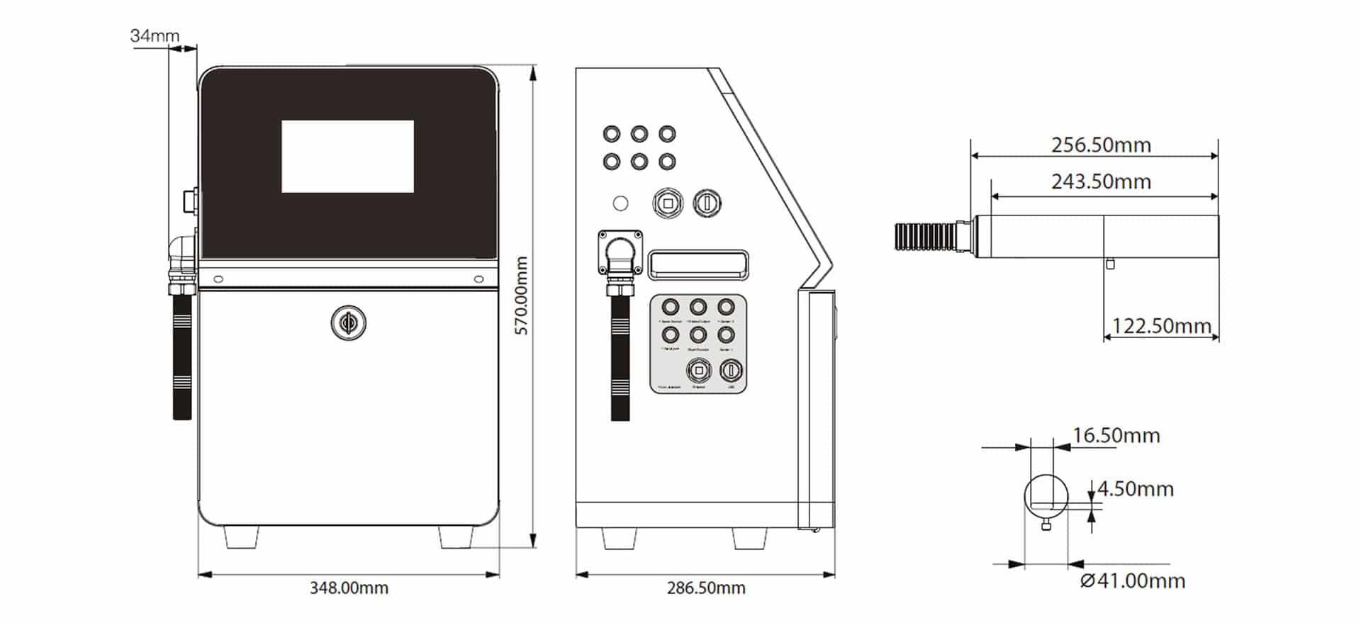 КРАПЛЕСТРУМЕНЕВИЙ МАРКУВАЛЬНИК FASTJET F550 PLUS FASTJET F530 PLUS розміри маркувальника